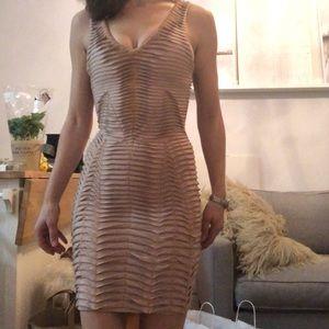 Herve Ledger Bandage Dress with Gold Stitching